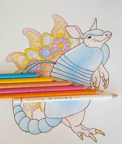 armadillo mandala coloring page