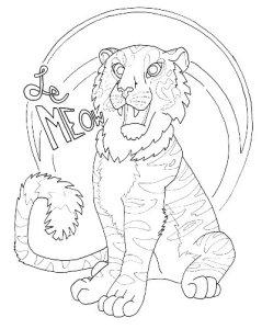 happy tiger coloring page