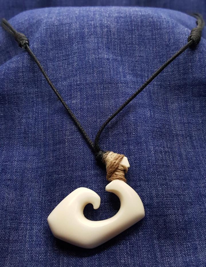 Beef Bone Spiral Necklace Hook Hei Matau Jewelry Influence
