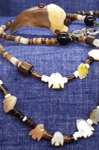 Black Bear Claw Beaded Necklace with Red Garnet