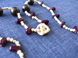 carved antler corn bead necklace