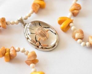 metallic gold beetle necklace