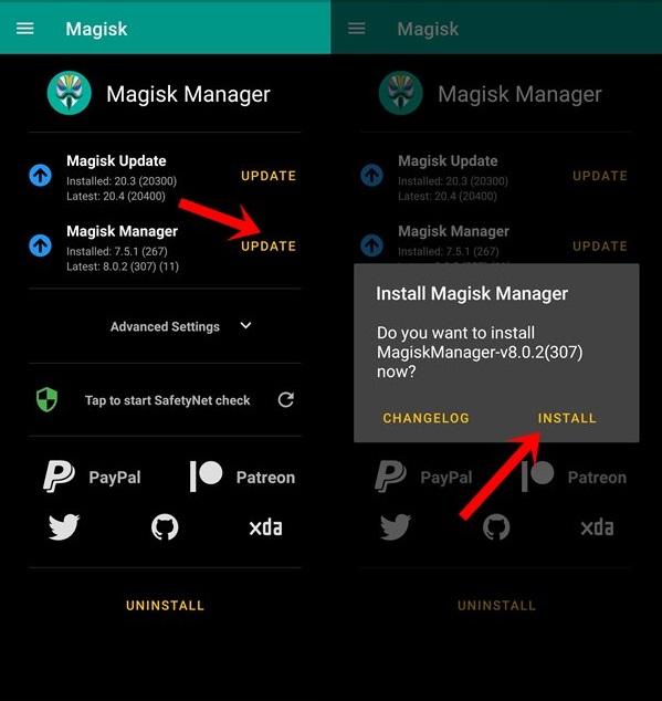 Update Magisk ZIP and Magisk Manager