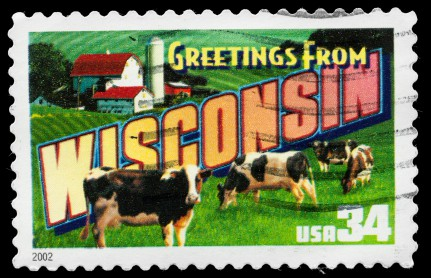 Wisconsin Stamp With Picture Of Cows On A Farm