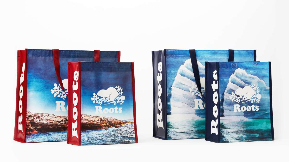 Four Roots Canada reusable bags. Two are larger sized, and two are smaller.