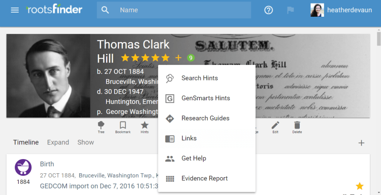 RootsFinder Updates include research hints make researching your free family tree easier