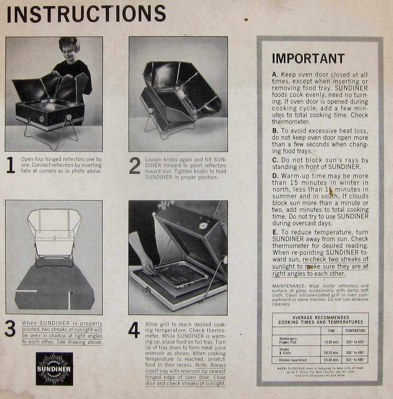 Sundiner solar cooker instructions