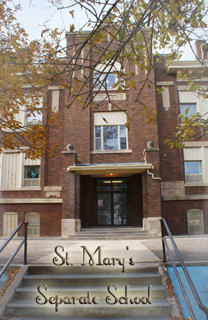 St. Mary's School built 1913. now demolished.  Classes for the Saskatoon Normal School relocated in 1919, to both St. Mary's separate school, and St. Thomas Presbyterian Church which provided space for classrooms.