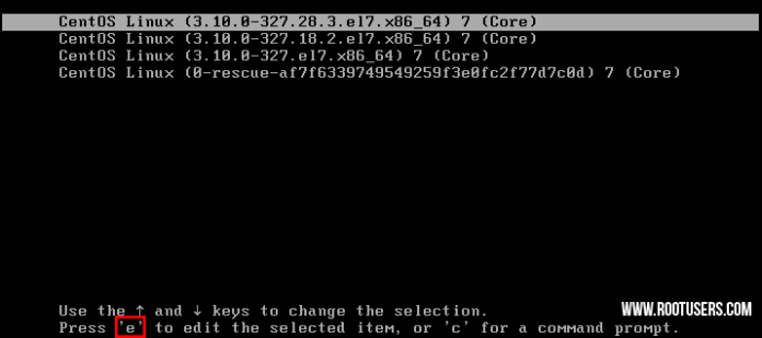 Linux Reset Root Password Boot Options