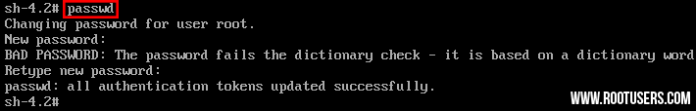 Linux Reset Root Password passwd command