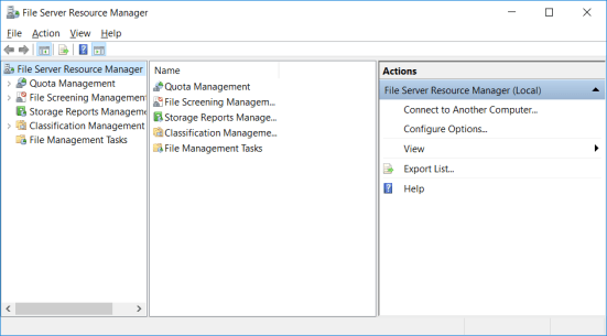 File Server Resource Manager GUI Window
