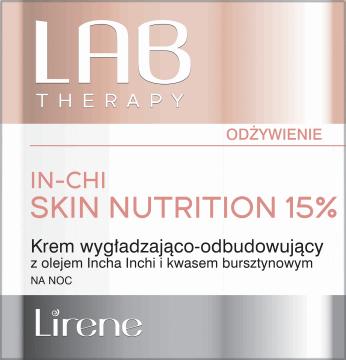 Lirene, Lab Therapy, wygładzająco-odbudowujący krem na noc z olejem Incha Inchi i kwasem bursztynowym, 50 ml, nr kat. 285204