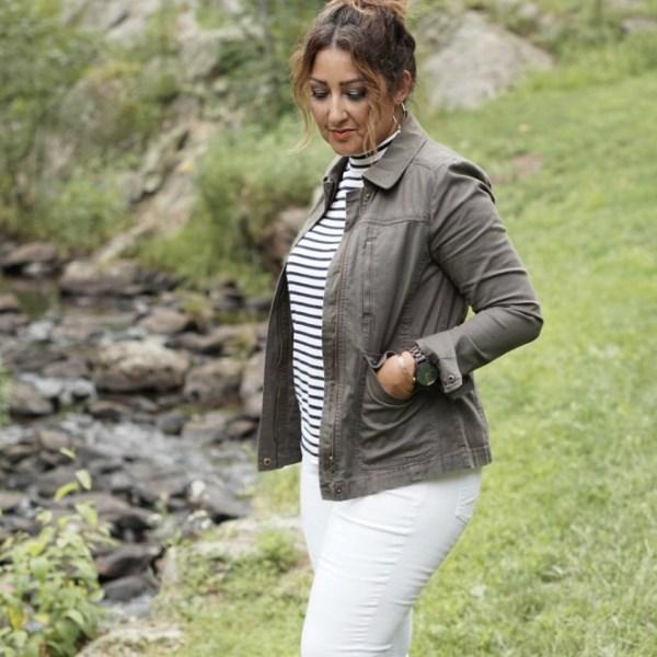 Transitional Style; Olive Jacket & Striped Mock Top