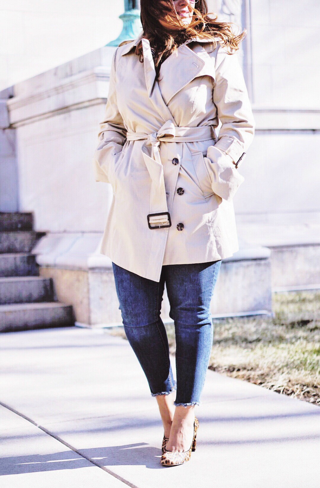 The trench coat for a casual outfit look.