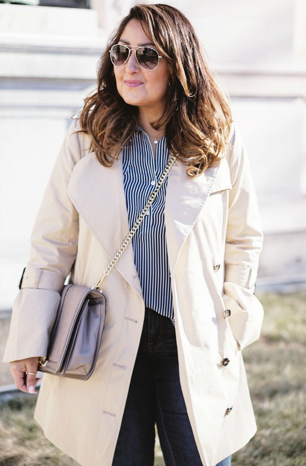 Banana Republic trench coat for a casual look.