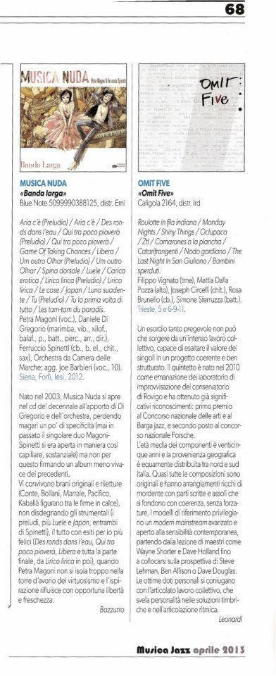 recensione OMIT FIVE_musica jazz aprile 2013