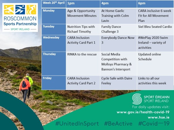 Roscommon Sports Partnership Weekly Schedule of Activities - 20th April 2020 - Covid19