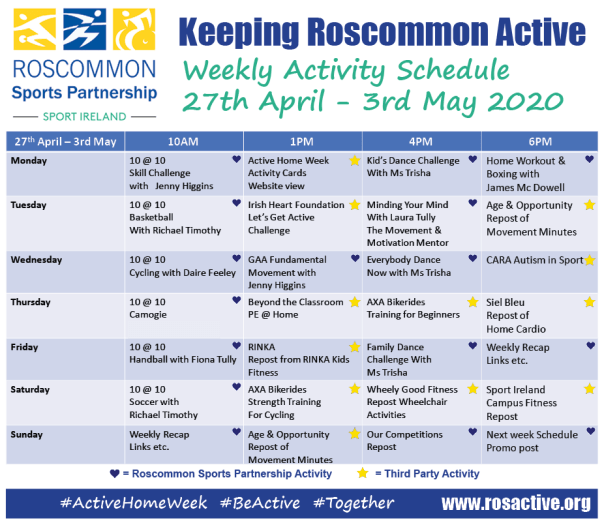 Roscommon Sports Partnership Weekly Activity Schedule 27th April - 3rd May 2020