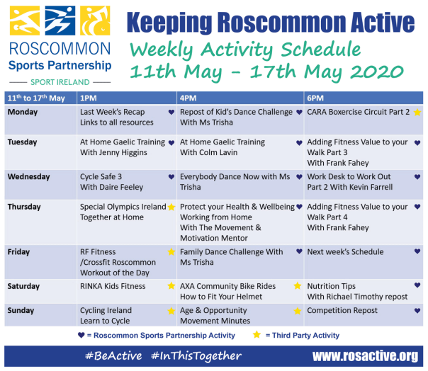 Roscommon Sports Partnership Weekly Online Activity Schedule 11th - 17th May 2020