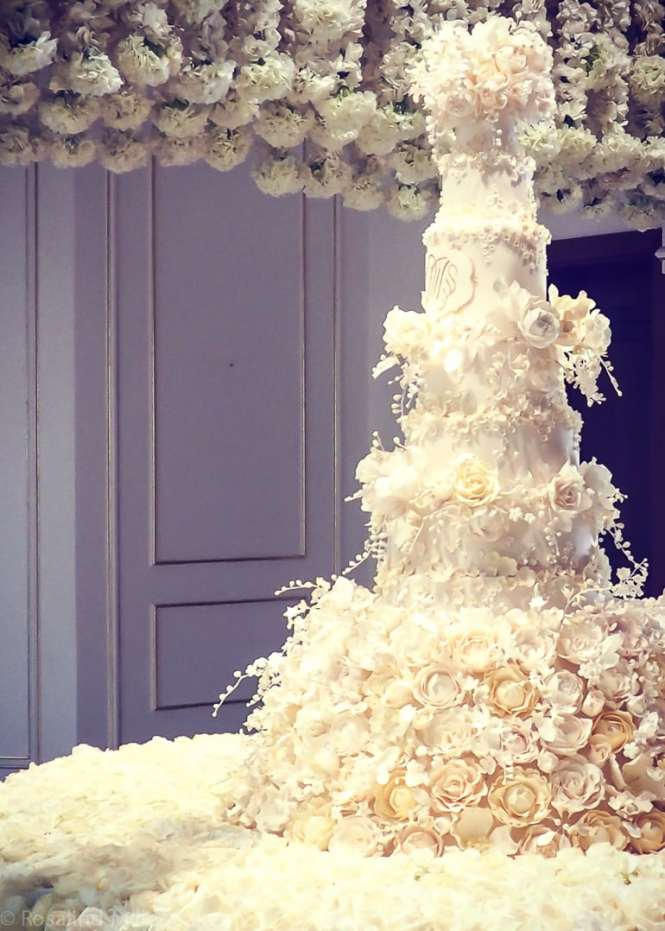 Ivory Cascade Wedding Cake