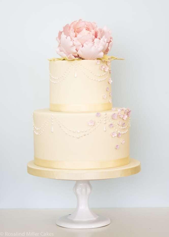 White Anemones Wedding Cake Three Tiered Cl