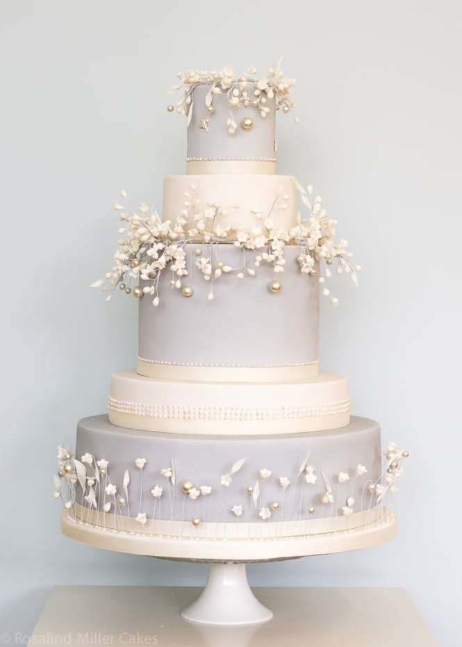 White Anemones Wedding Cake Three Tiered Cl