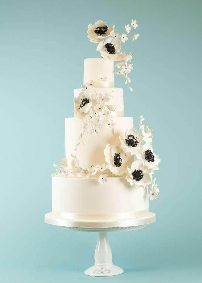 Powder Blue And Ivory Roses Wedding Cake