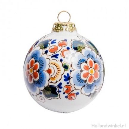xmas_kerstbal_ornament_art_delfsblauw_ bloemmotief gekleurd