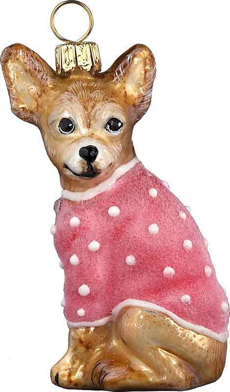xmas_kerstbal_ornament_hond_chihuahua_roze_flwueel_jas