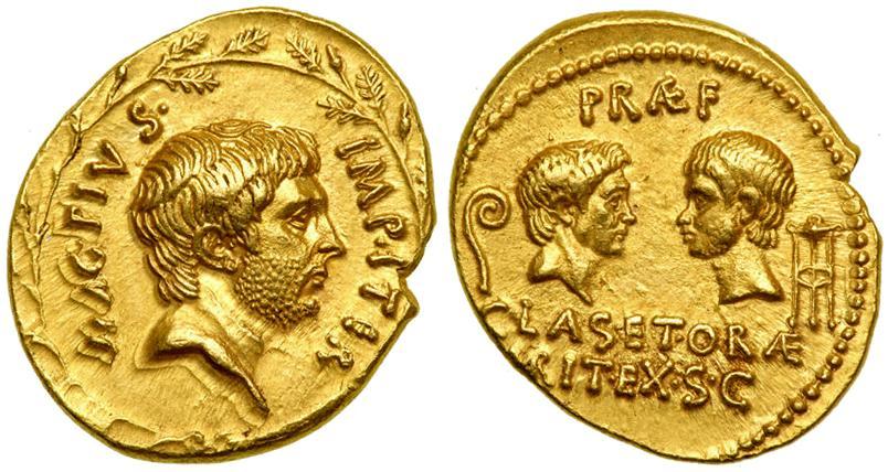 Única representación conocida de Sexto, en una moneda acuñada en Sicilia entre el 42 y el 40 a.C.