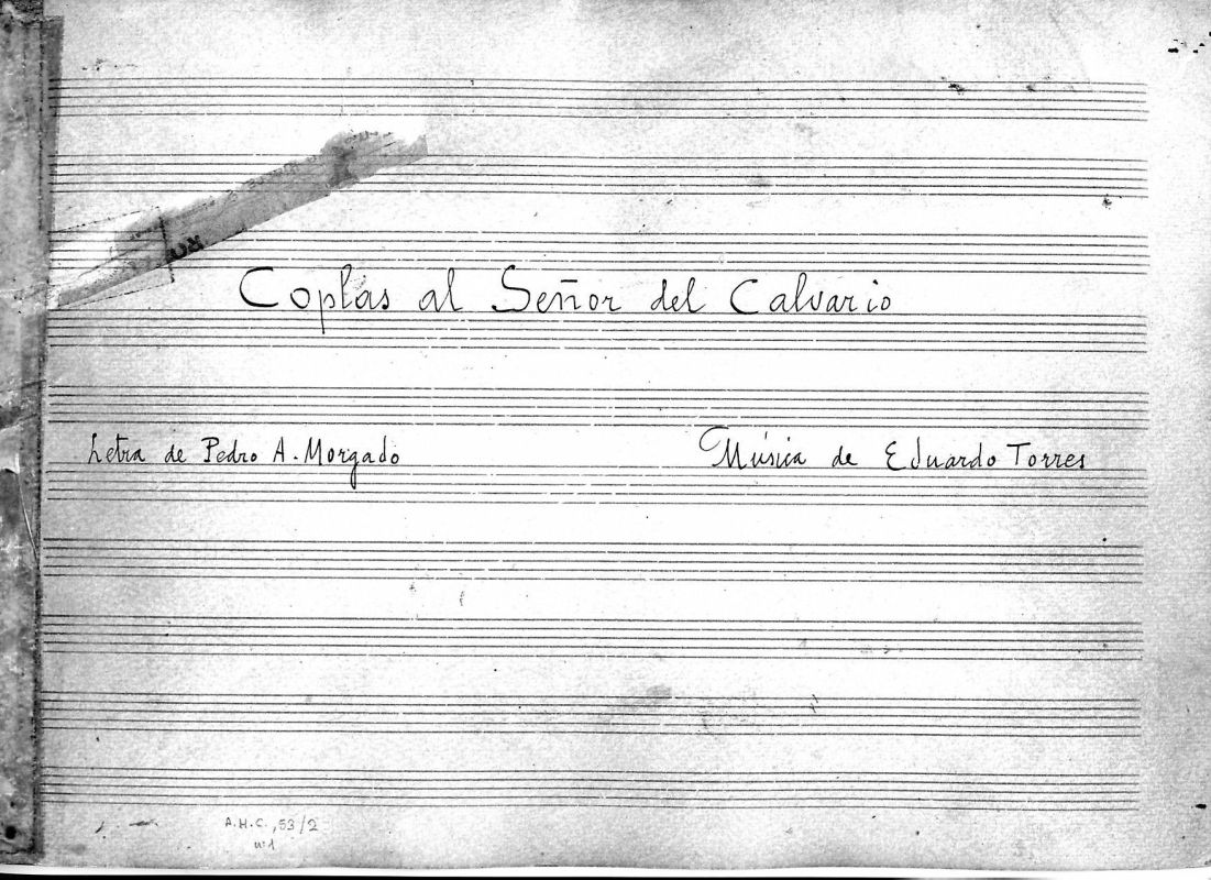 Portada de la partitura original manuscrita de las Coplas al Señor del Calvario.