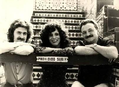 Alberto Favero, Nacha Guevara y Mario Benedetti en 1972. Autores de la canción Te Quiero.