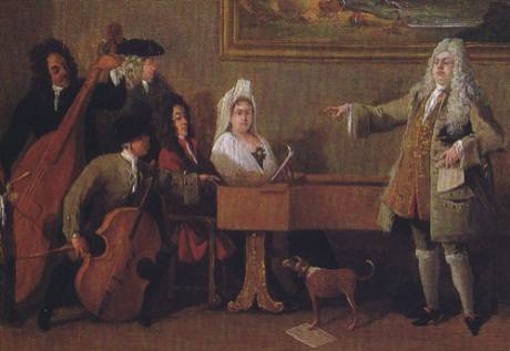 <em>Prova di un'opera</em>. Pintura de Marco Ricci (1709) en la que se representa a Nicola Francesco Haym tocando el clavicémbalo durante un ensayo.