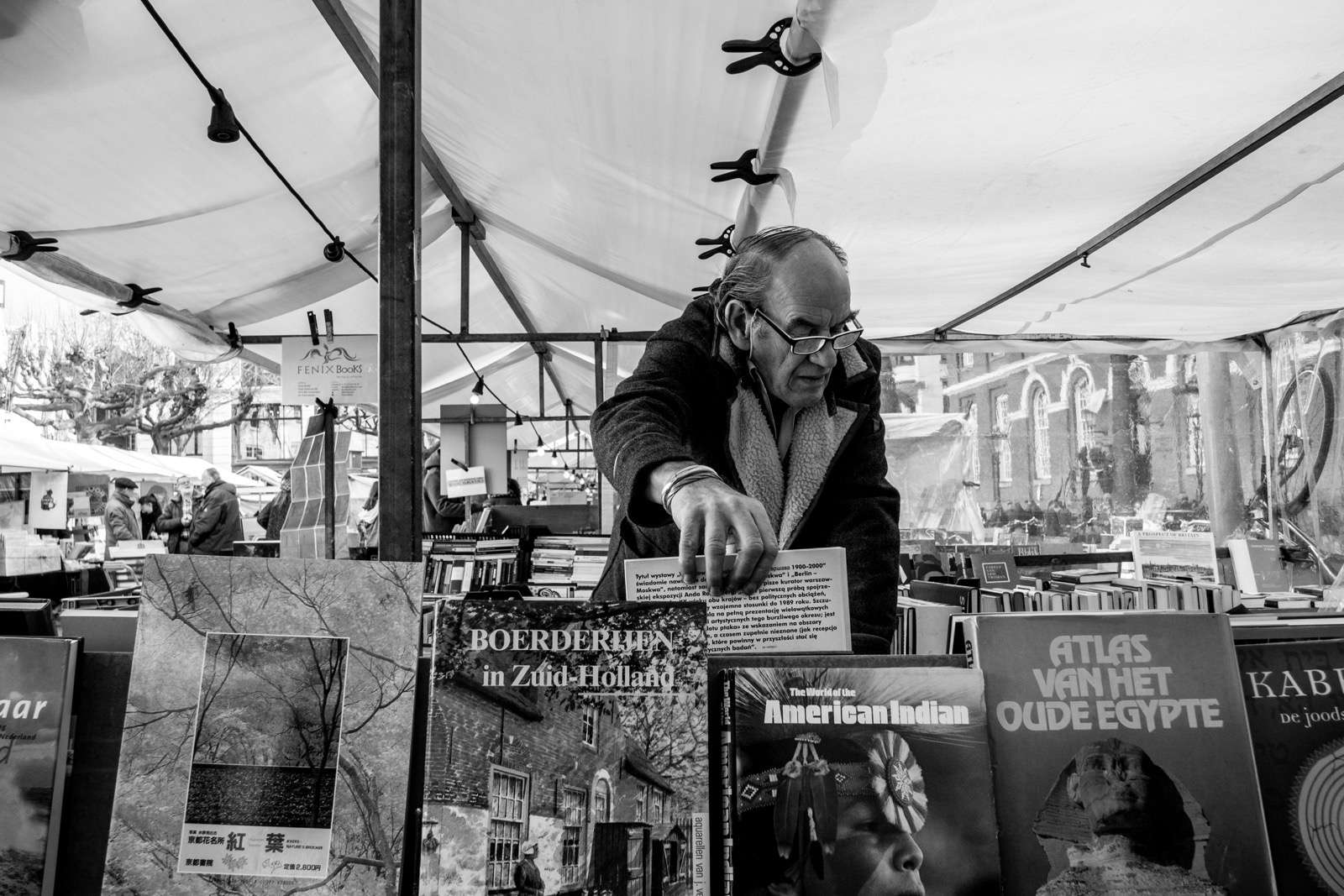 Amsterdam book market - black and white street photography