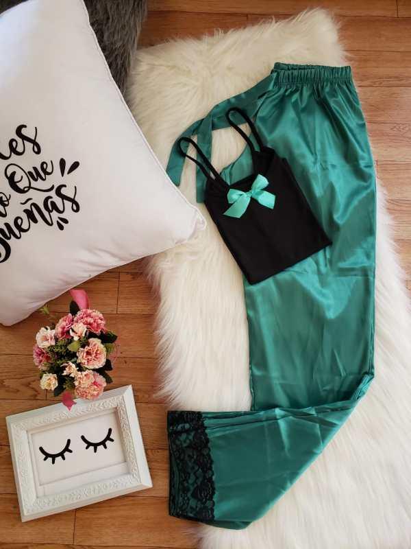 Pantalón Satén Verde Esmeralda