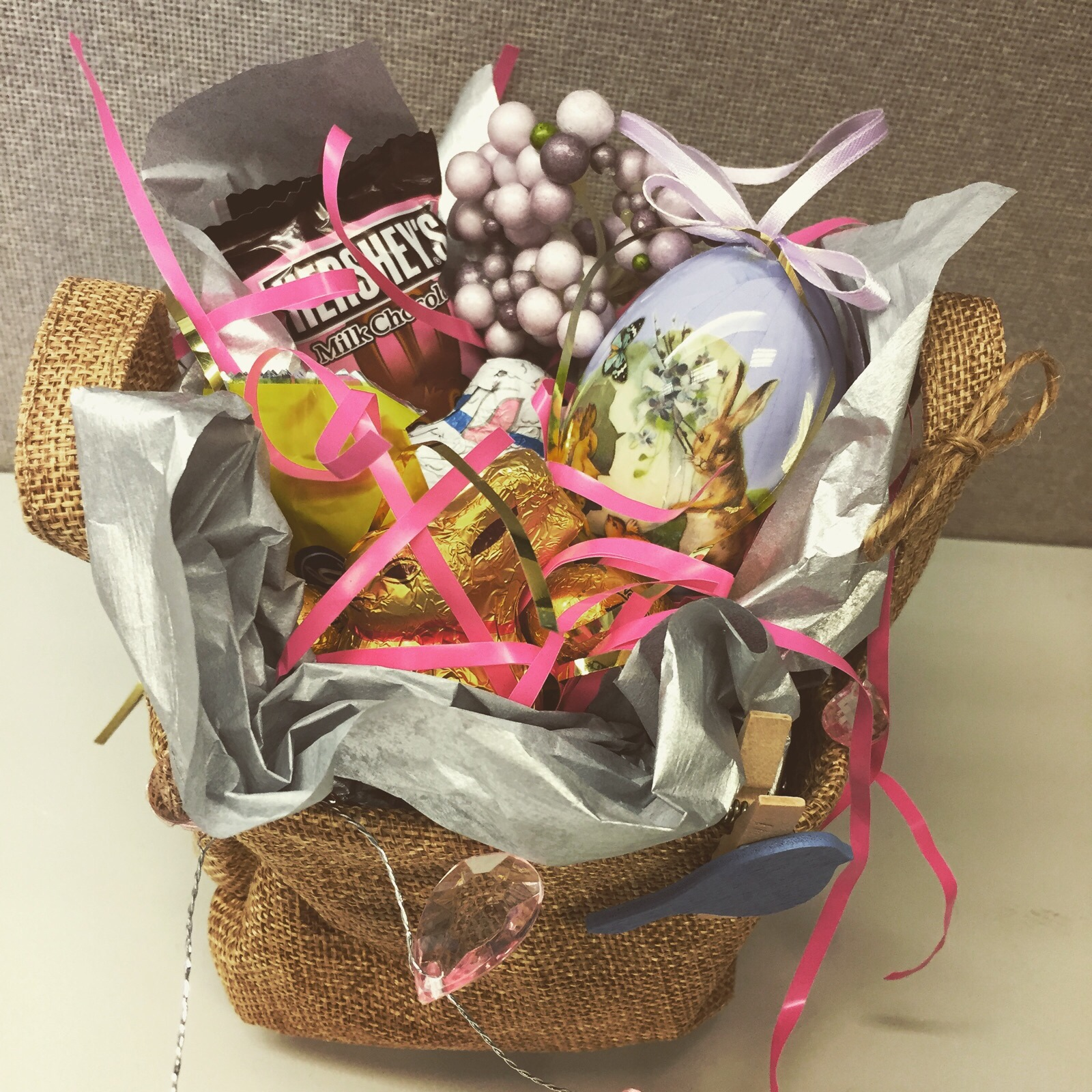 Gift baskets and bags rose and twig floral designs a small burlap basket from the target dollar display makes a great rustic themed easter basket these were treats for my awesome product management team negle Choice Image