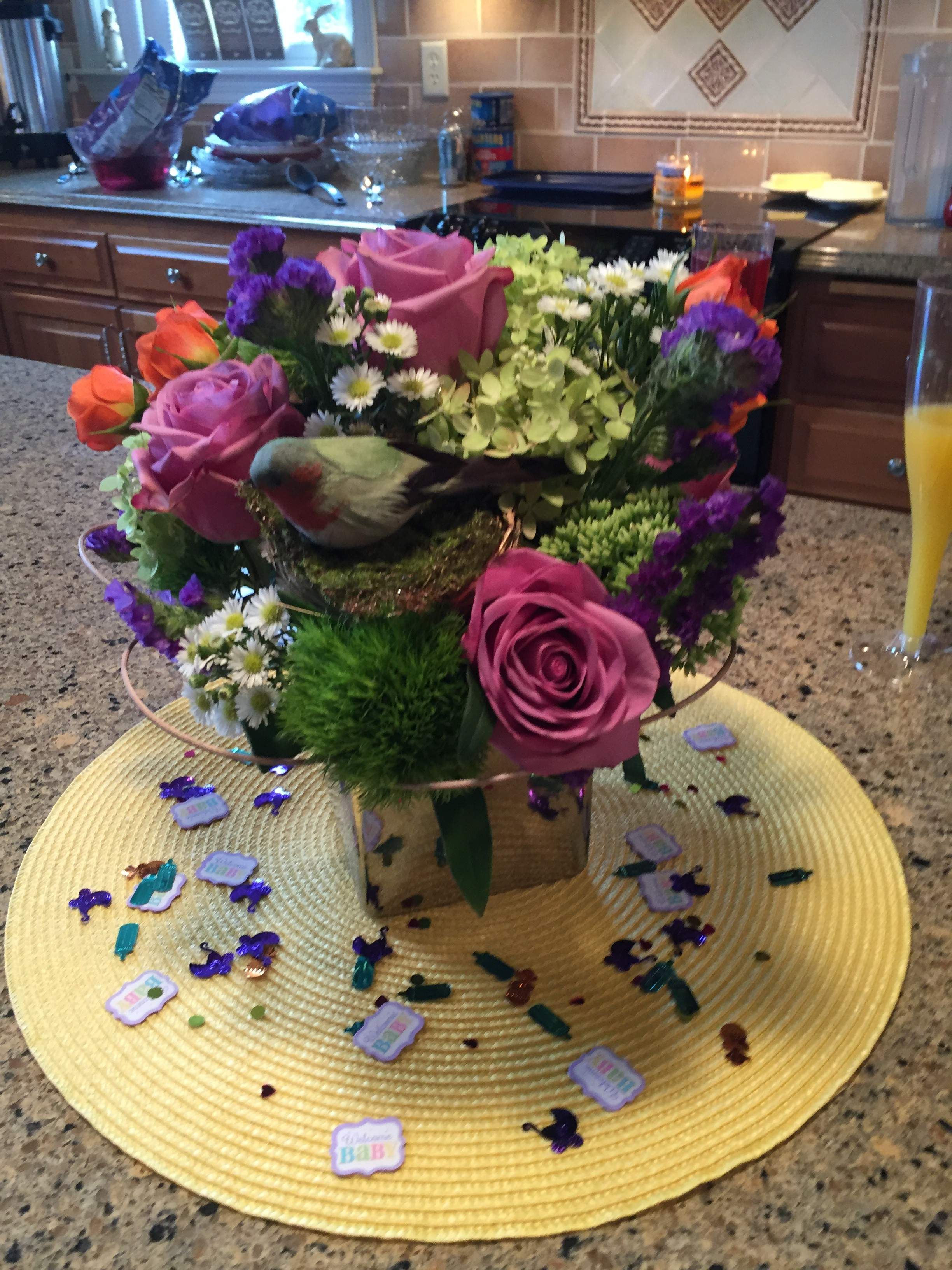 Purple rose and twig floral designs babe orange spray roses dianthus green trick purple statice and a small daisy like aster completed the design hydrangea and sedum were added from the altavistaventures Images