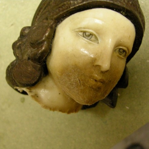 This shows the decapitated head before restoration