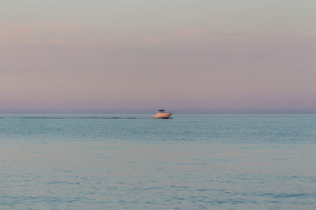 Lake Michigan at Wind Point Lighthouse at Golden Hour