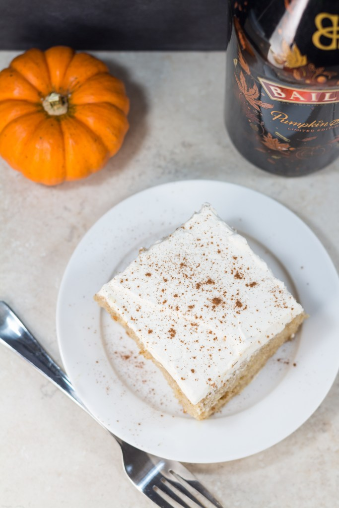 Tres leches cake with the amazing seasonal Bailey's Pumpkin Spice! | http://www.roseclearfield.com