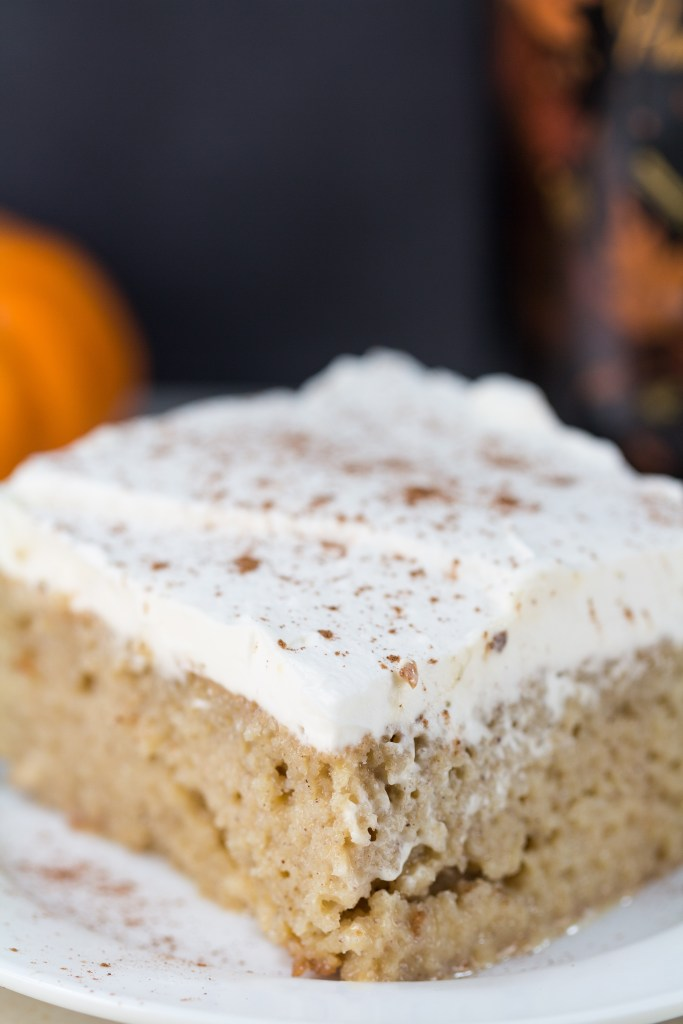 Tres leches cake with the seasonal Bailey's Pumpkin Spice. Perfect, easy indulgent dessert for a special fall occasion! | http://www.roseclearfield.com