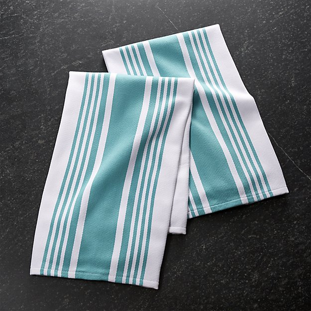 My 7 Favorite Staple Crate and Barrel Kitchen Items - Cuisine Stripe Aqua Dish Towels | http://www.roseclearfield.com