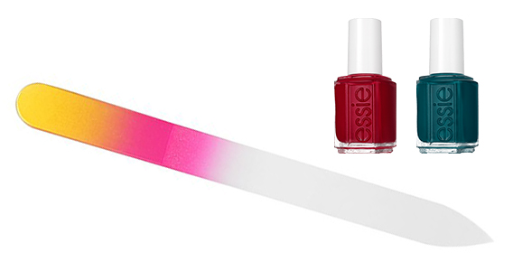 Glass nail file and Essie polishes in holiday shades. Perfect gift for her! | http://www.roseclearfield.com