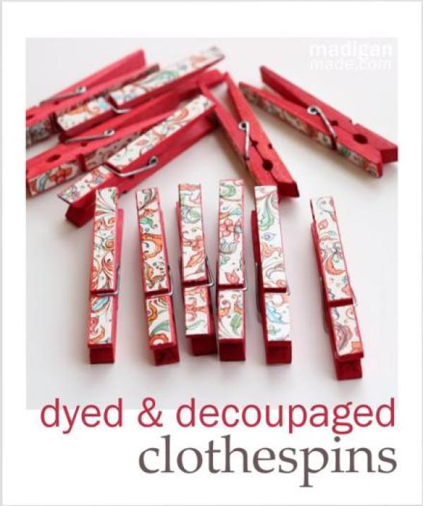 Last-Minute Homemade Christmas Gift Ideas - Dyed and decoupaged clothespins.   https://www.roseclearfield.com