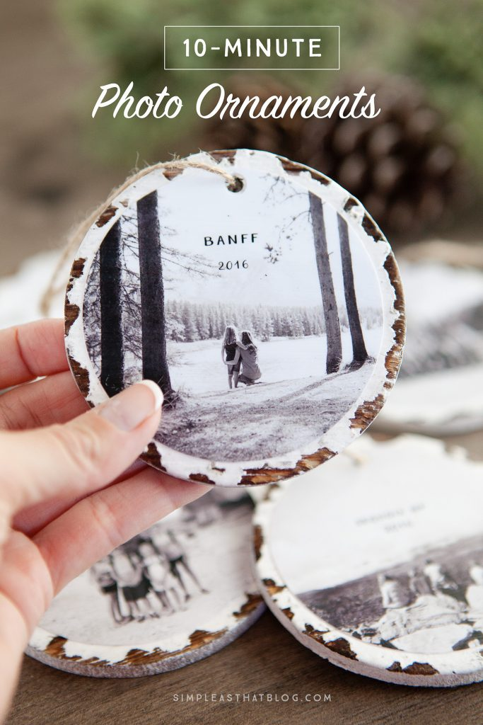 Last-Minute Homemade Christmas Gift Ideas - 10-minute photo keepsake ornaments.   https://www.roseclearfield.com