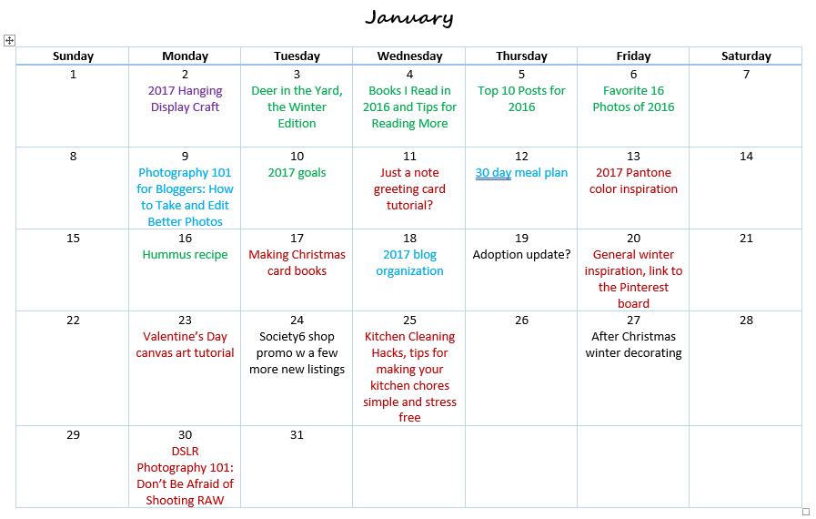 2017 Blog Editorial Calendar   http://www.roseclearfield.com