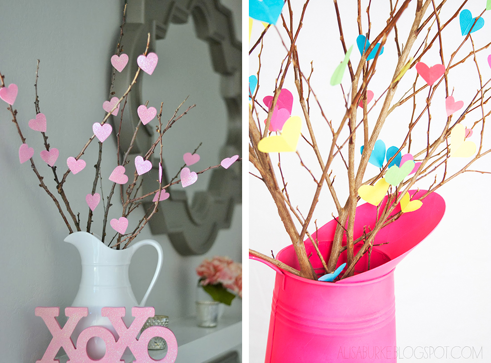 Last-Minute DIY Valentine's Day Decor Ideas - Heart Branches | http://www.roseclearfield.com
