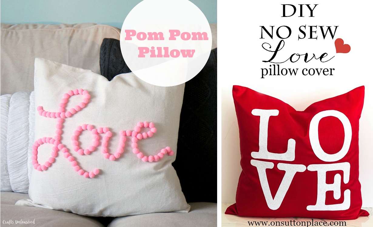 Last-Minute DIY Valentine's Day Decor Ideas - No-Sew Pillow Covers | http://www.roseclearfield.com