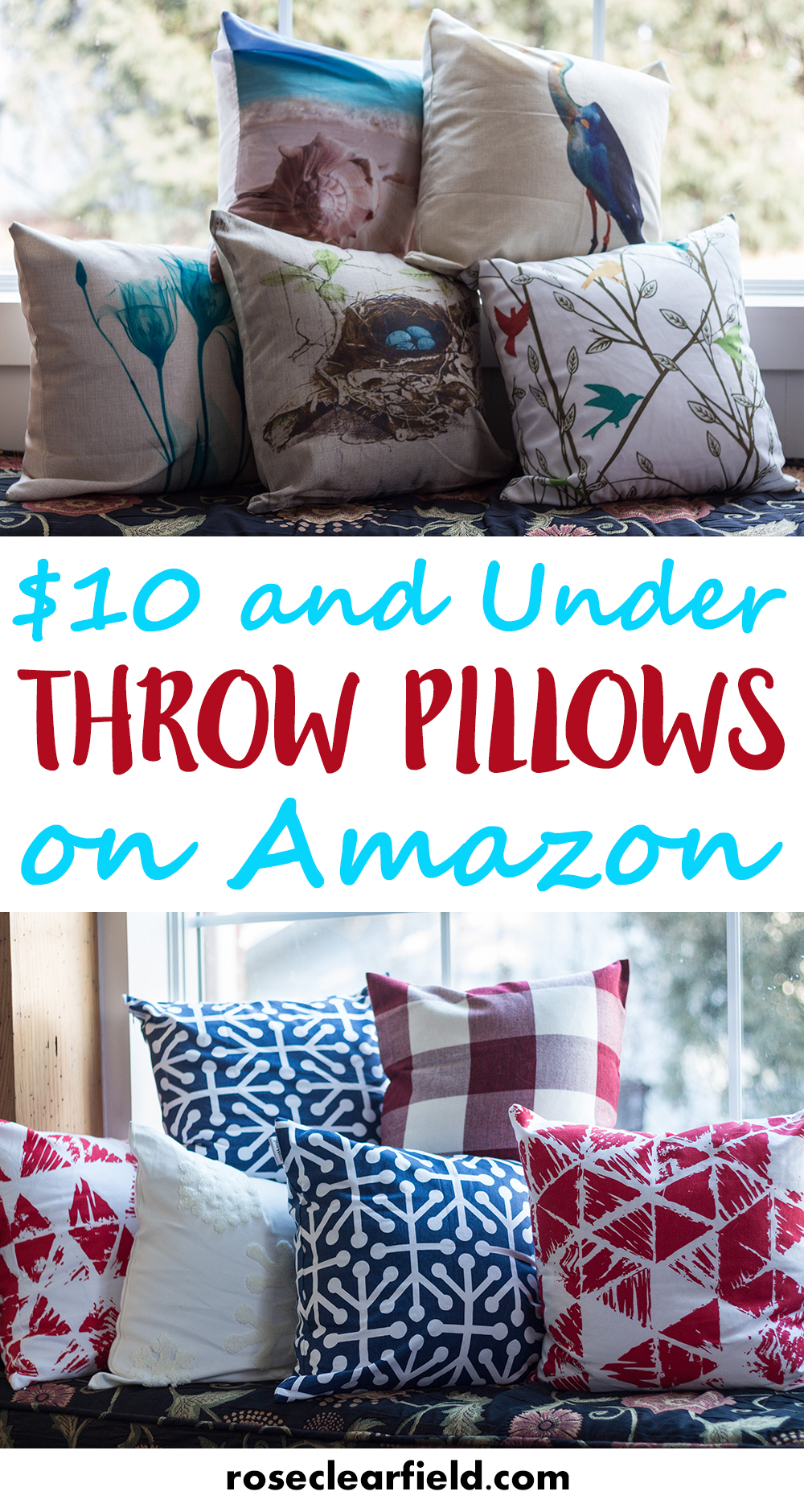 $10 and Under Throw Pillows on Amazon. Decorate your home beautifully without breaking the bank! | http://www.roseclearfield.com