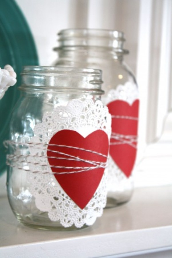 Valentine's Day Doilie Heart Baker's Twine Mason Jars via The Pleated Poppy | http://www.roseclearfield.com